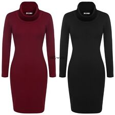 Women Lady Knit Bodycon Sweater Dress Cowl Neck Long Sleeve Red/Brown/Black/Gray