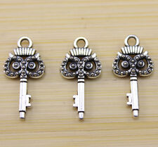 35/100/300 PCS Very lucky cute two-sided owl The key Tibet silver charm pendant