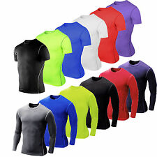 Mens Sports Casual Short/Long Sleeve T-shirt Compression Base Layer Gym Tops Tee