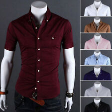 Mens Fashion Luxury Casual Slim Fit Dress Shirts Stylish Short Sleeve T-Shirts 7