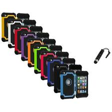 Color Deluxe Hybrid Hard Case Cover+Stylus Plug for iPod Touch 4th Gen 4G 4