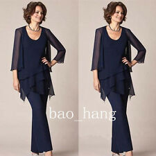 Mother of Bride Chiffon Pant Suits Navy Vest+Pant+Jacket Formal Evening Outfits