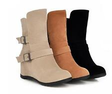 Womens Faux Suede Round Toe Buckle Strap Hidden Wedge Heels Pull On Ankle Boots