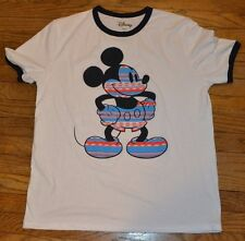 Mickey Mouse Ringer Style  T-Shirt Adult Men's Tee Officially Licensed Disney