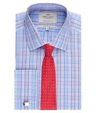 Hawes & Curtis Mens Long Sleeve Multi Check Extra Slim Fit Shirt Double Cuff