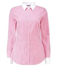 Hawes & Curtis Womens Ladies Long Sleeve Bengal Stripe Fitted Shirt Double Cuff