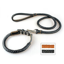 Braided Genuine Leather Pet Dog Collar&Leash for Large Dogs Pitbull Boxer Bully