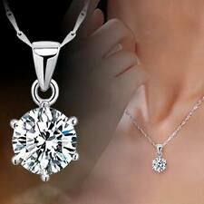 Hot Rhinestone Zircon Necklace Six Claw Pendant Silver Plated