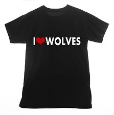 Wolves t shirt I love Clothing Tee T-shirt Heart gray wolf hungry like football