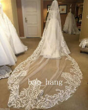 White Ivory Applique Bridal Wedding Veils Cathedral 3m 1 Layer Veils With Comb