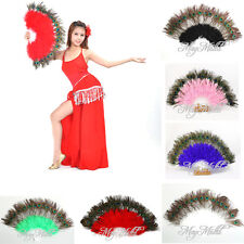Good  Large Belly Dance Costume Peacock Feather Folding Hand Fan 6 Color XW タ