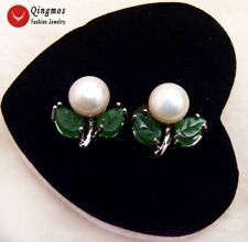 7-8mm white Flat Round Natural FW pearl with green jade leaf stud earring-ear472