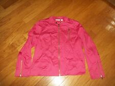 CHICOS JACKET SIZE 2 FALL BIGHT PINK/ CORAL ZIP UP COTTON SPANDEX