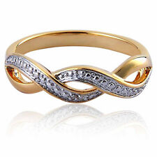 14k Gold EP Women's Wedding Band Diamond Accent Infinite Symbol Engagement Ring