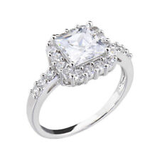 Women's Engagement Wedding Ring Square CZ White Gold Plated Bridal Promise Ring
