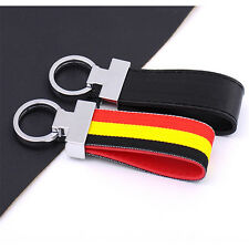 Stainless &Cloth Luxury Leather Chrome Belt Chrome Key Chains Key Ring Charms