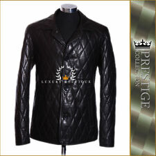 Prestige Neo Black Men's Diamond Quilted Smart Lambskin Leather Blazer Jacket