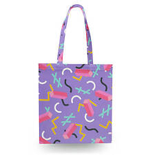 Purple Memphis Pattern Canvas Tote Bag - 16x16 inch Book Gym Bag Optional Zip
