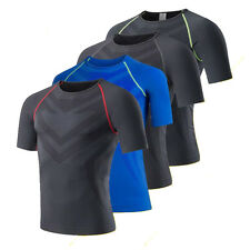 Mens Compression Thermal Under Base Layer Tops Short Sleeve Tights T-shirts MT52