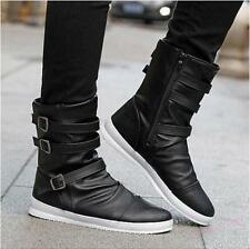 Mens Buckle Zipper Shoes Flats Motorcycle Biker Ankle Boot punk board strappy