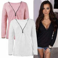 Sexy Women Ladies Fashion Casual T Shirt Long Sleeve Tops V Neck Slim Blouse