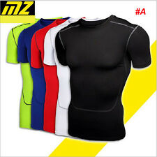 Mens Compression Thermal Under Base Layer Tops Short Sleeve Tights T-shirts MT54