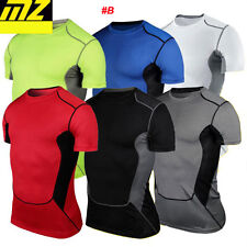 Mens Compression Thermal Under Base Layer Tops Short Sleeve Tights T-shirts MT55
