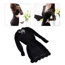 Women Hot Fashion Lace V Neck Bodycon Long Sleeve Short Slim Dress Party Evening