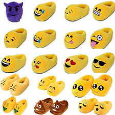 Mens Women Kids Plush Emoji Slippers Winter Warm Soft Indoor Home Cotton Shoes