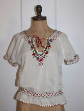 ANTHROPOLOGIE TOP BY HAZEL NEW MEXICAN EMBROIDERED PEASANT BOHEMIAN BLOUSE SZ S