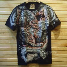 3D Tiger Dragon Japanese Tattoo Tee Full HD Glow in The Dark Front Back T-shirt