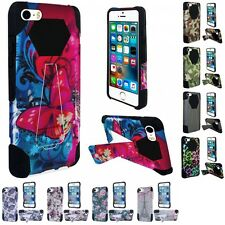 For Apple iPhone 5 Hard Design Soft Case Phone Cover Kickstand Armor