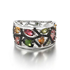 Natural Tourmaline Black Spinel Cocktail Ring Solid 925 Sterling Silver New