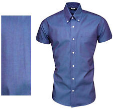 Relco Men's Blue Two Tone Tonic Short Sleeved Button Down Collar Mod Ska Shirt