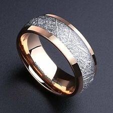 Mens 8mm Domed 14k Gold Tungsten Carbide Ring Meteorite Inlay Wedding Band New