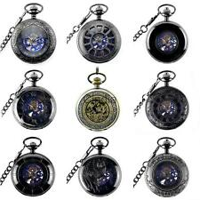 Retro Men Punk Hollow Case Automatic Mechanical Necklace Pocket Watch