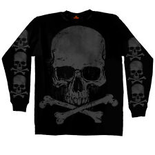 Skull & Crossbones  LONG SLEEVE T-Shirt Motorcycle Biker Jolly Roger Flag Pirate