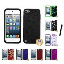 For iPod Touch 5th 6th Gen Flower Design Hybrid Hard Soft IMPACT Case Stylus Pen