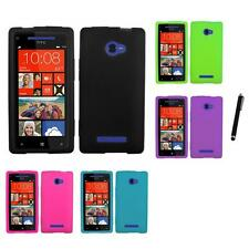 For HTC Windows 8X Silicone Skin Rubber Soft Case Phone Cover Stylus Pen