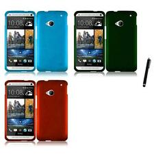 For HTC One M7 Rubberized Matte Snap-On Hard Case Phone Cover Stylus Pen