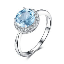Natural Sky Blue White Topaz Engagement Ring Solid 925 Sterling Silver SOLD