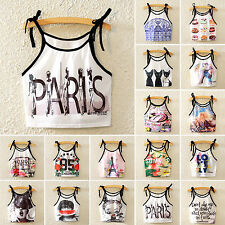 Womens Sleeveless Tank Top Strappy Casual Crop Top Cami Bralette Tee Vest Blouse