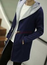 Mens Fashion Leisure Trench Hooded Wool blend Slim fit Long Jacket Coat
