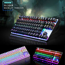 87/104 Keys K29 Usb Backlit Ergonomic Multimedia Mechanical Gaming Keyboard New