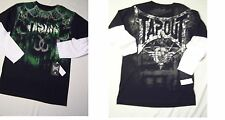 NWT Tapout Graphic tee boys Black layered sleeve 18-20 XL metallic silver print