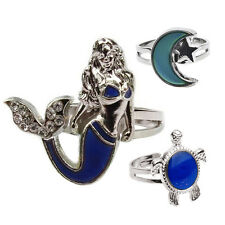 Mood Ring Color Turtle Moon Mermaid Shape Size Adjustable TemperatureSD