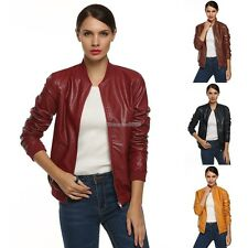 Women Synthetic Leather Zipper Biker outerwear Jacket Coat Faux Leather ED