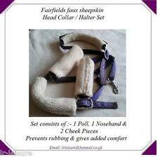 Faux Sheepskin Noseband, Poll, Cheek Piece, Horse Pony Head Collar Halter Set