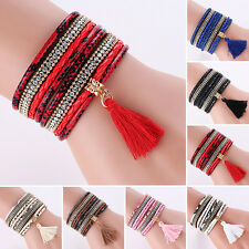 Women Bohemia Multilayer Faux Leather Knitted Tassels Bracelet Bangle Goodish