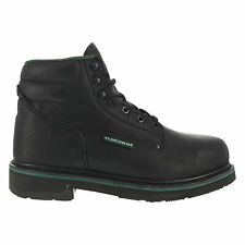 Florsheim Mens Black Leather 6in Work Boots Utility Steel Toe